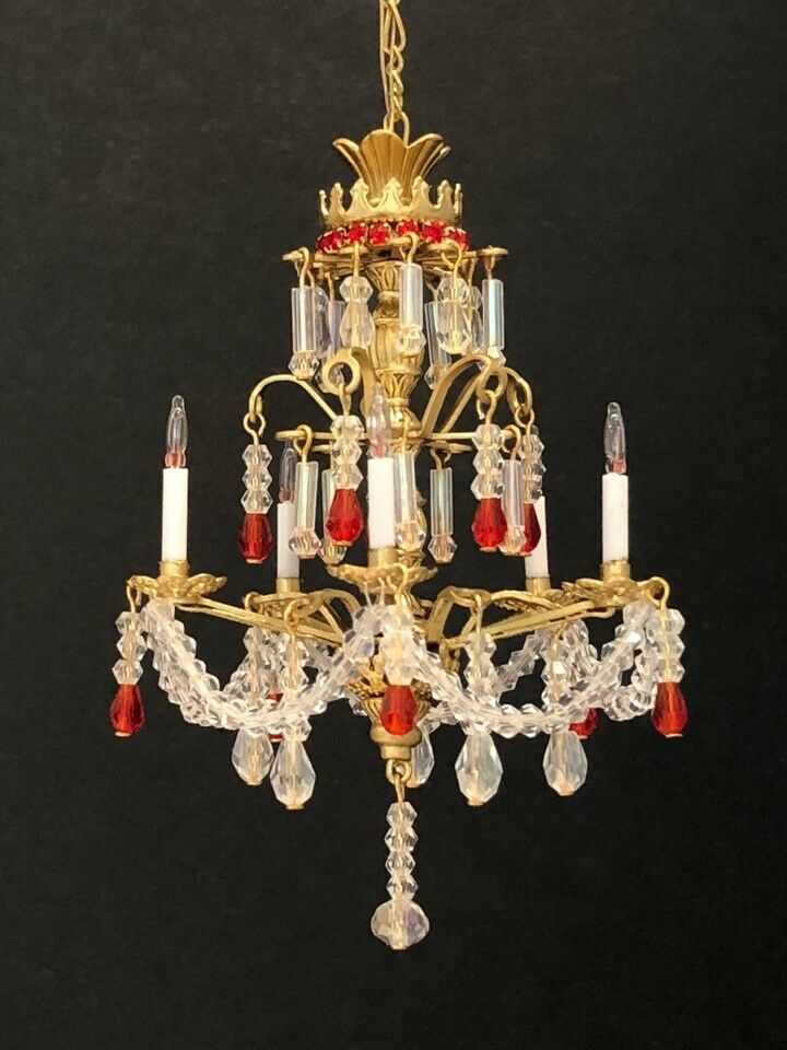Dollhouse Miniature Handcrafted Crystal Chandelier with rot Crystals 1 12 12V