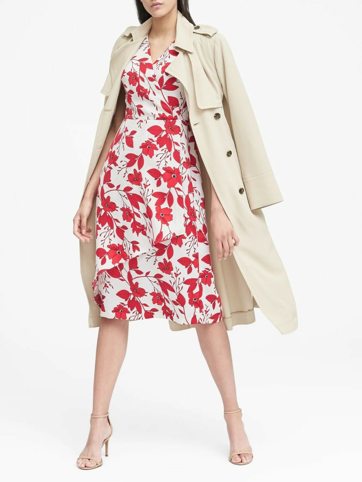 Banana Republic Floral Wrap-Effect Midi Dress, rot Floral Größe 4    E822