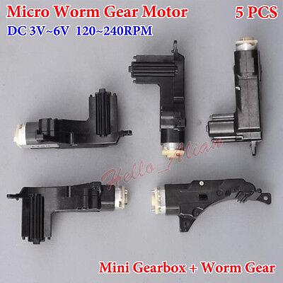 5PCS DC 3V 5V 6V 240RPM Mini Worm Gear Motor Gearbox Reduction DIY Car Robot Toy