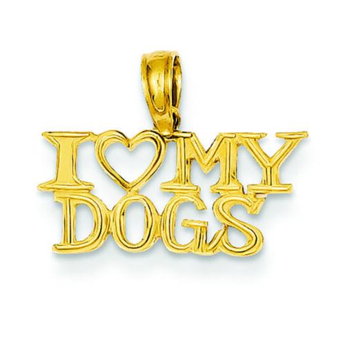 14K Or Jaune I Heart mes chiens Charm Pendentif fabricants Standard prix de détail $108