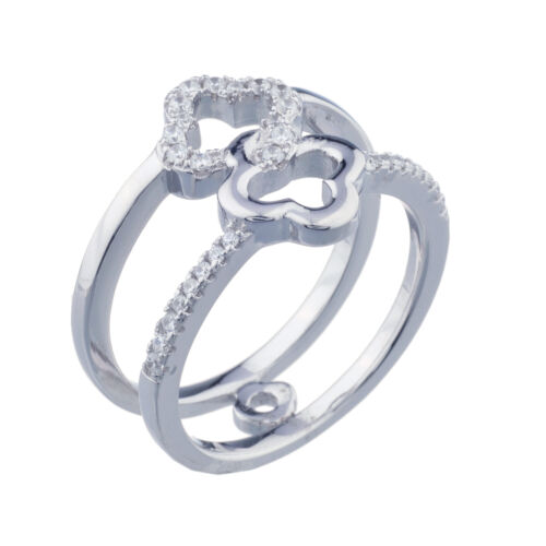 Blanc Saphir Clover Twin Band Ring Taille 7 925 Sterling Silver
