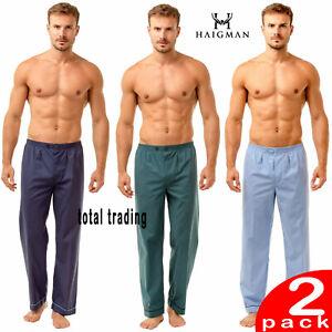 Mens Plain Poly Cotton Pyjama  BOTTOMS TROUSERS 2 PACK   M L XL XXL