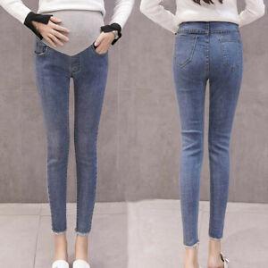 Women-Pregnant-Maternity-Solid-Trousers-Belly-Leggings-Jeans-Blue-Denim-Pants-ED