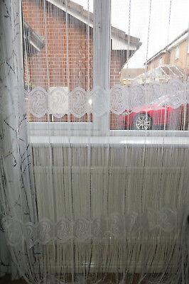 "Curtains, Drapes & Valances White Spaghetti String Curtain 245cm Drop 90cm Width Home & Garden 96""x35"""