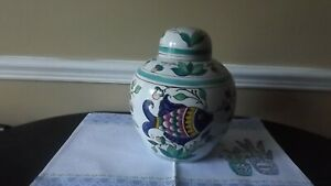 VINTAGE-GINGER-JAR-LARGE-WITH-FISH-ART-HAND-PAINTED-STAMPED-ON-BOTTOM-11-039-039