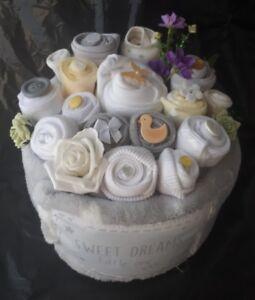 Unisex neutral bright nappy cake clothing bouquet baby shower gift image is loading unisex neutral bright nappy cake clothing bouquet baby negle Images