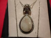 Snow Drusy Quartz Pear Pendant W/chain 20 In Stainless Steel-24.20 Carats
