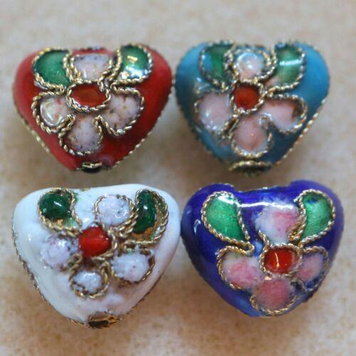 Handmade Cloisonne Heart Beads Jewellery Bracelet Making Enamel Metal Beads