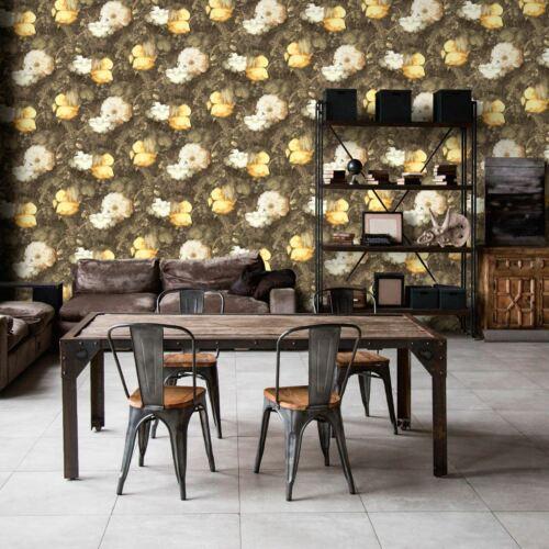Anke /& Daan Amsterdam Linen AS Creation Yellow 36921-1 Wallpaper Flowers Leaves