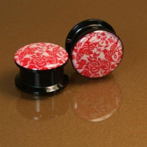 PAIR Red and White Papercut Floral Acrylic Screw Plugs 6mm-20mm