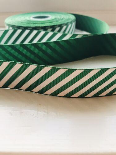 Green /& White Stripe Christmas Ribbon Candy Cane 15mm x 2m Cake decorating