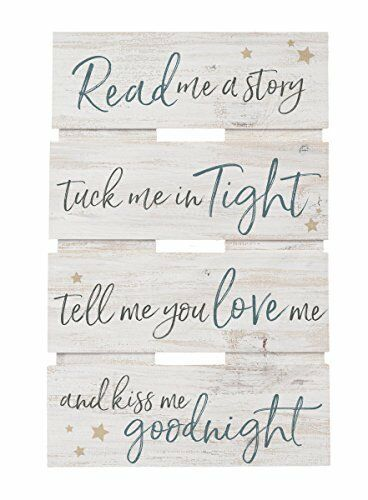 Read Me a Story Kiss Goodnight Whitewash 10 x 15.5 Wood Skid Pallet Wall Plaque