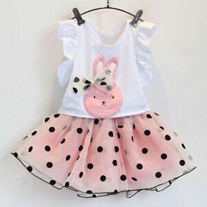 Toddler Baby Kids Girls Polka Dot Top T-Shirt+Skirt Dress Outfits Set Clothes