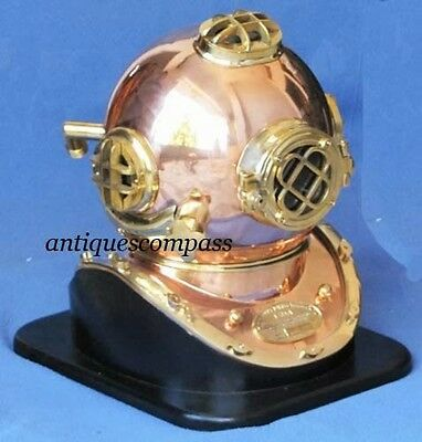 Marine Nautical Deep Sea Divers Diving Helmet - US NAVY MARK V With Wooden Stand