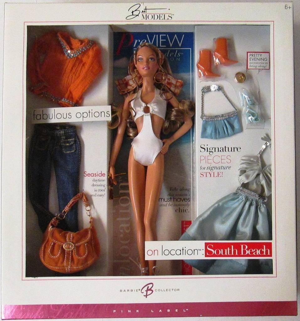 En ubicación  playa del sur Muñeca Barbie (modelos mejor colección) (rosado Label) (Nuevo)