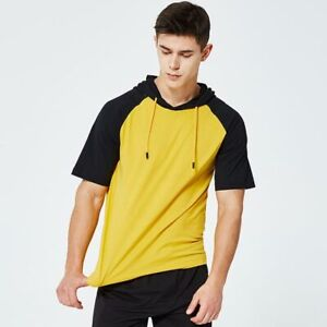 Mens-Muscle-Tops-Short-Sleeve-Hooded-Hoodie-Basic-T-shirt-Casual-Slim-Fit-Shirts