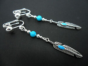 A-PAIR-OF-TIBETAN-SILVER-DROP-DANGLY-FEATHER-THEMED-CLIP-ON-EARRINGS-NEW