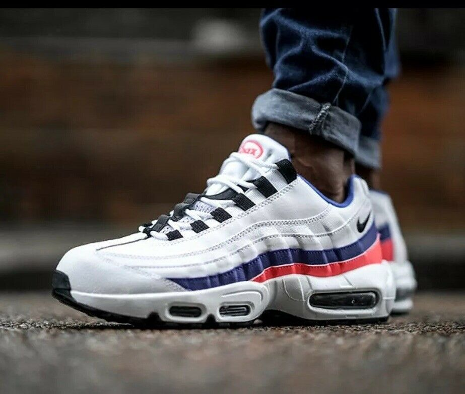 NIKE AIR MAX 95 ESSENTIAL WHITE BLACK-SOLAR RED SIZE MEN'S  [749766-106] Size 13