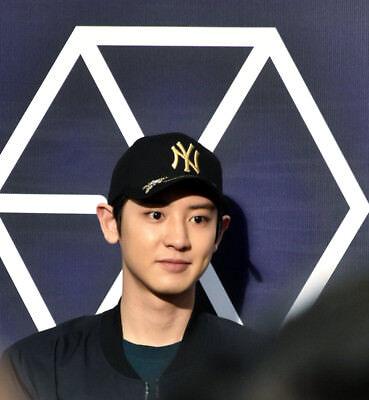 SM Artist EXO Chanyeol x MLB Gold Bee New York Yankees Curve Cap  e925a165b6a