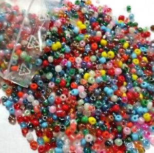 250g-Rocailles-Glas-Perlen-4mm-Rund-Mehrfarbig-Opak-Silbereinzug-BEST-Z13-250g