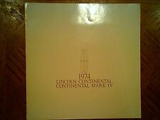1974  Lincoln  Continental and  Mark  IV  Sales   Brochure  - Original