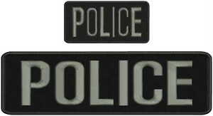 POLICE embroidery patches 3X9 hook on back dark gray letters