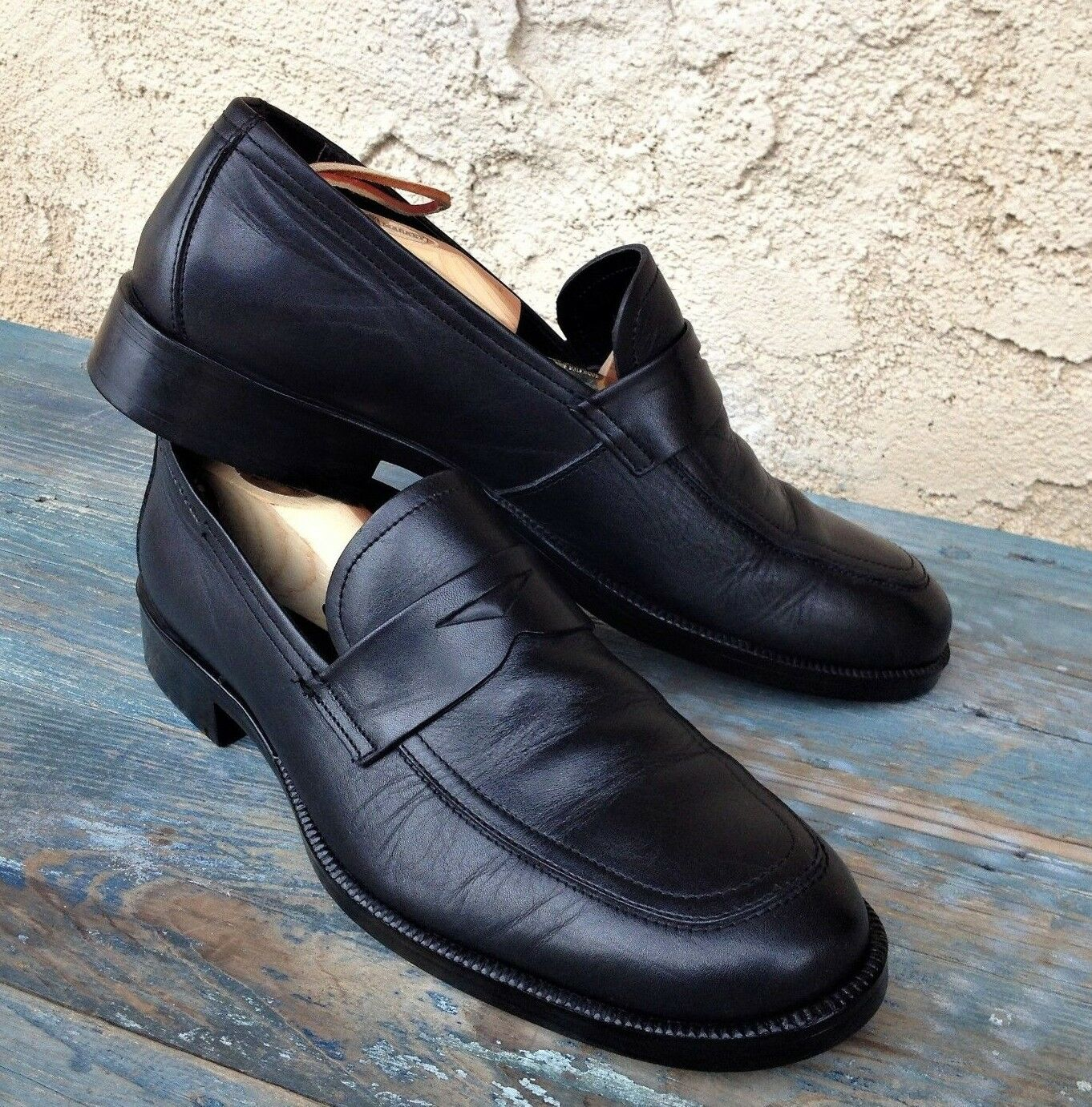 1e86697d3d9b6a MARC O POLO O POLO O POLO of SWEDEN BLACK LEATHER SLIP-ON PENNY LOAFERS  MOCCASINS MEN S US 10 047747