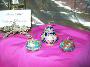 Set of Pear & 2 Apples Cloisonne Various Blues & Colors Lidded with Brass Stems