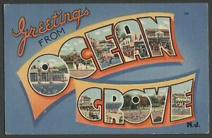 GREETINGS-FROM-OCEAN-GROVE-NJ-NEW-JERSEY-1940s-50s-Large-Letter-Linen-Postcard