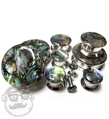 Pair of Abalone Shell Top Screw on Tunnels Plugs (8G - 1 Inch) - New!