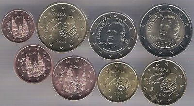 Spain 2015 set of 8 euro coins New King 1 2 5 10 20 50 cent 1 2 euro Bimetal UNC