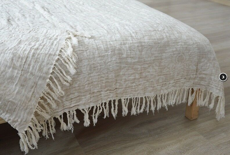 LINEN Bett THROW,  BLANKET,  BettDING LINENS. HOME DECOR (53 X 79 IN)