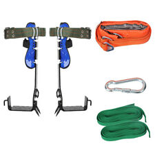 New Listing2 Gears Tree Climbing Spike Set Safety Belt Adjustable Rope Lanyard Rescue Tool