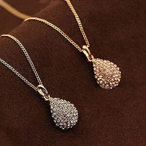 Women-Rhinestone-Crystal-Gold-Silver-Plated-Teardrop-Long-Chain-Pendant-Necklace