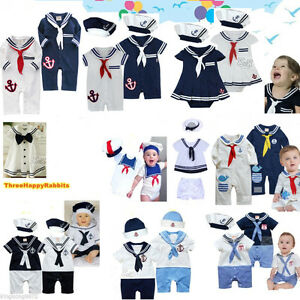 f4457a283 Baby Boy Girl Sailor Outfit Navy Captain Costume Romper Dress 3-24M ...