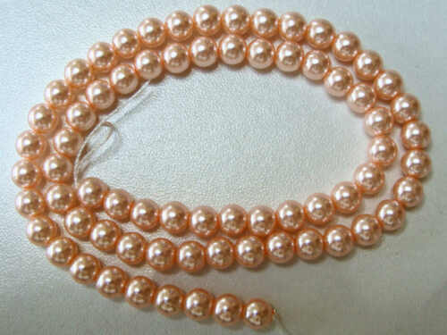 68 perles verre peint aspect nacré 6mm rondes ROSE DIY création bijoux