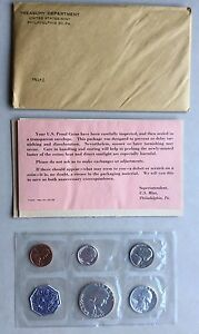 USA-1962-Proof-Set-Philadelphia-in-Umschlag-Silber-PP-polierte-Platte-1c-50c
