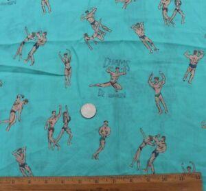 Vintage-c1950-1960-Muscle-Men-amp-Women-Cotton-Conversational-Fabric-18-034-X20-034