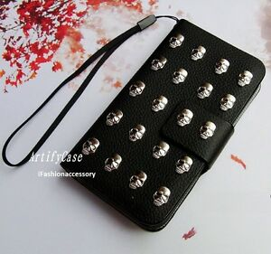 Skull-Stud-phone-wallet-Leather-flip-case-Handmade-cover-For-iPhone-7-8-Plus-XR