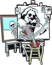 3936 Jerry Garcia Skeleton Painting Enamel Hat Pin Button Brooch Skull Hippie