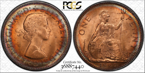 1967-GREAT-BRITAIN-ONE-1-PENNY-PCGS-MS64RD-CIRCLE-TONED-COIN-HIGH-GRADE