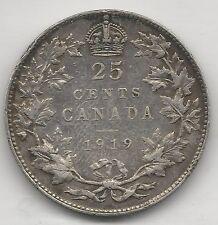 CANADA,  1919,  25 CENTS,  SILVER,  KM#24,  VERY FINE-EXTRA FINE