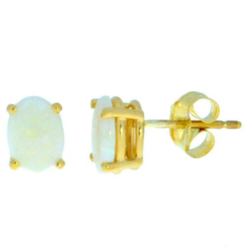14Kt Yellow Gold Genuine Opal Oval 8x6 mm Stud Earrings