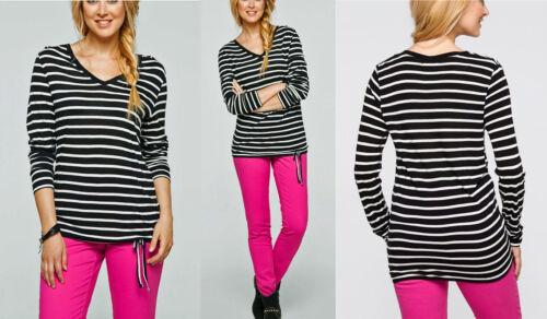 Longshirt lila//schwarz gestreift  Gr 44//46  Langarm T-Shirt  922919 NEU!