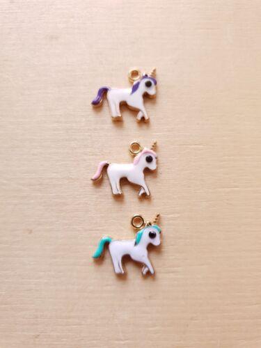3 x Kleine emaillierte Einhorn Anhänger ♥ Geschenkdeko ♥ Schmuck Charms Ketten