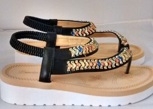 Femme Plates Sandale Avec Multicolore Bijoux Bracelet RB-15