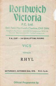 Oct 76 NORTHWICH VITORIA v RHYL FA Cup