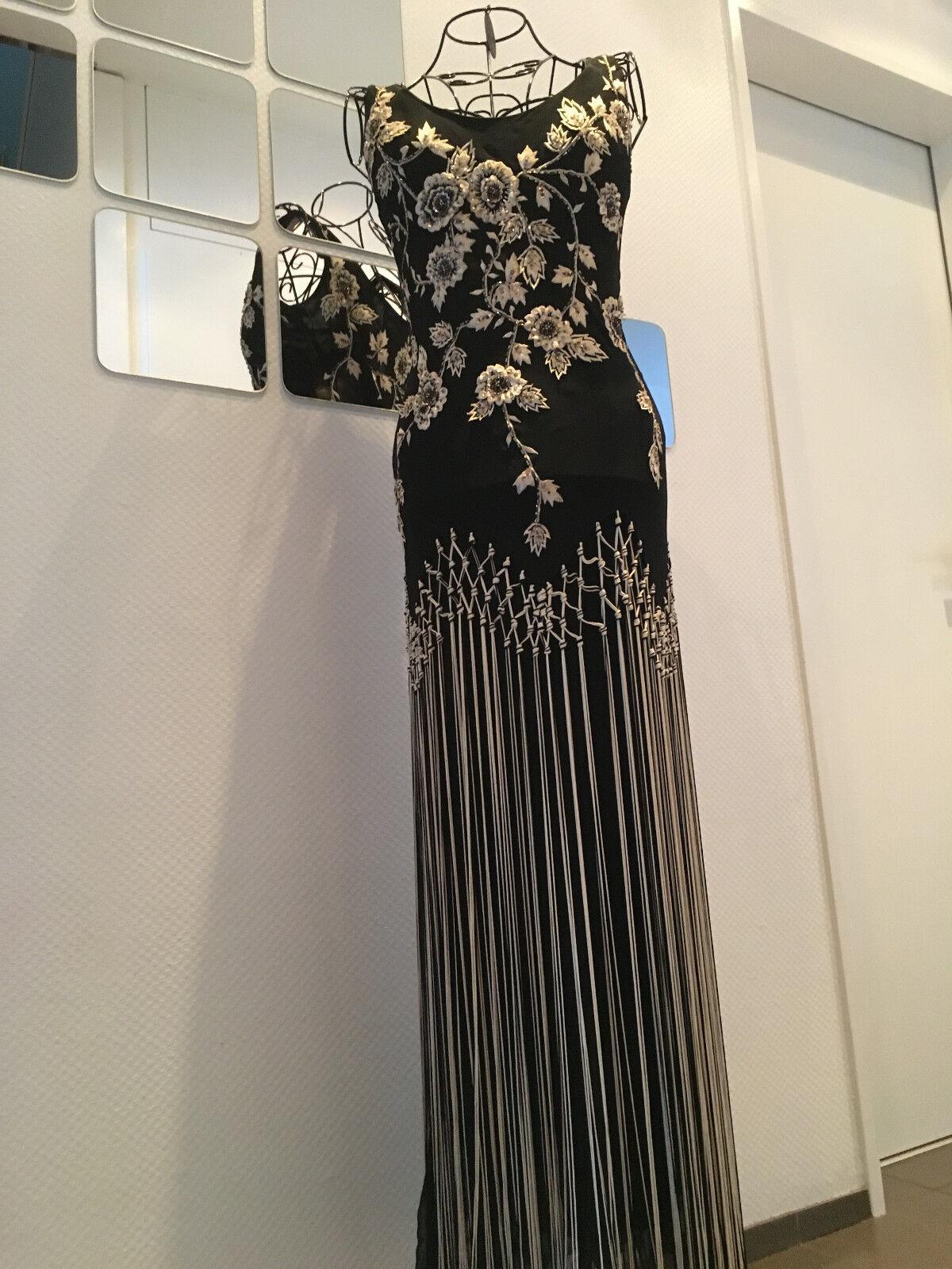 Kleid lang schwarz Gold Fransen Abendkleid Abschlusskleid Schulterträger armfrei