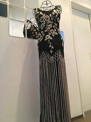 Kleid Lang Schwarz Gold Fransen Abendkleid Abschlusskleid Schultertrager Armfrei Ebay
