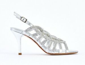 26ad7deac1e SIZE 3 4 5 6 7 WIDE FIT SILVER DIAMANTE MID HEEL BRIDAL SLINGBACK ...